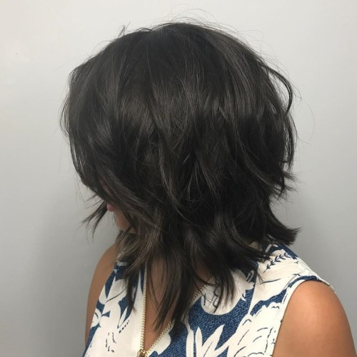 Brunette Shaggy Inverted Bob