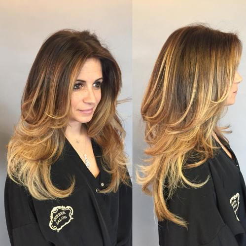 Golden Blonde Balayage For Long Layered Hair