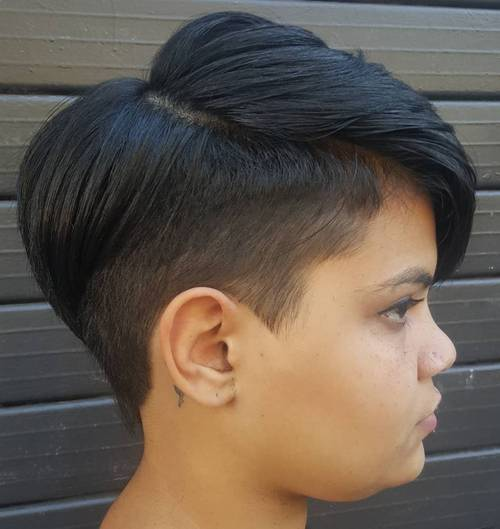 short sassy women's haircut with temple undercut