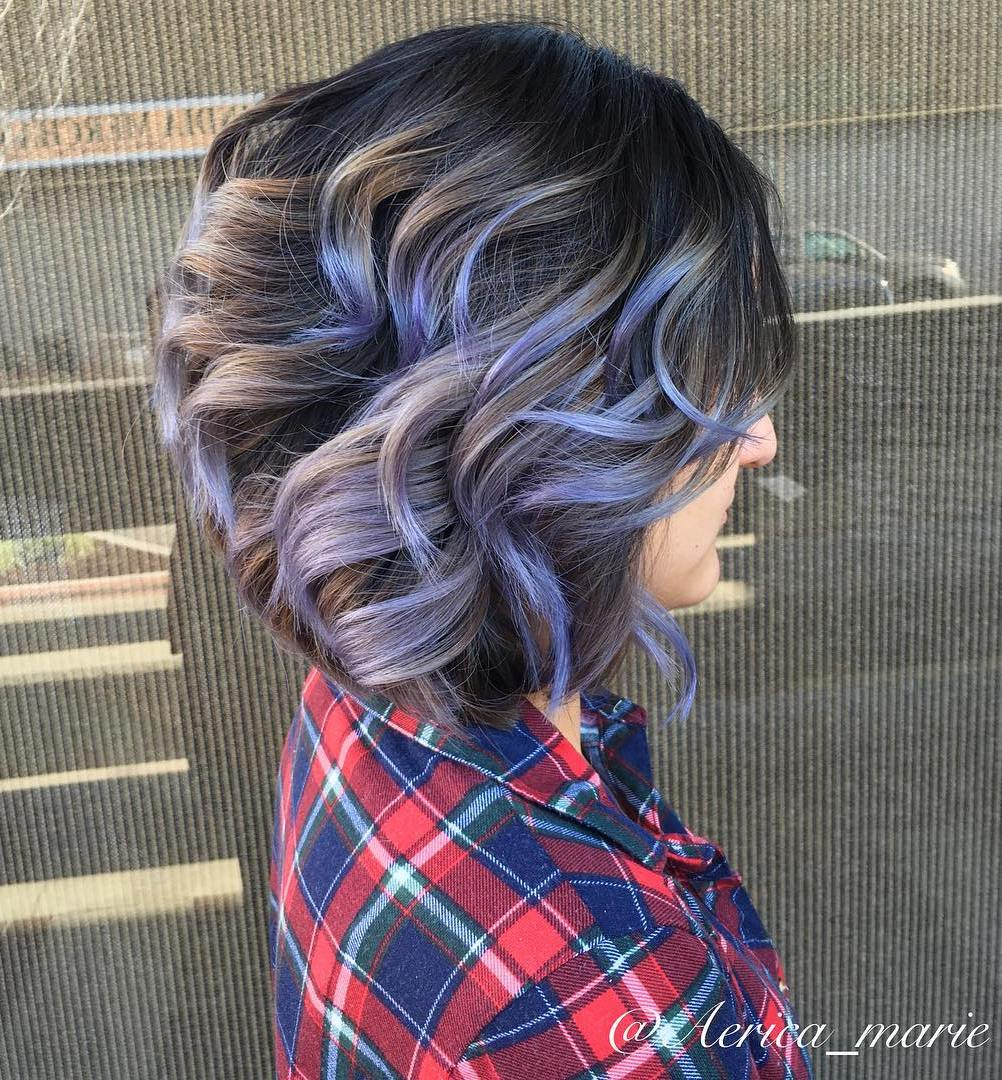 Brown Balayage Bob With Purple Highlights