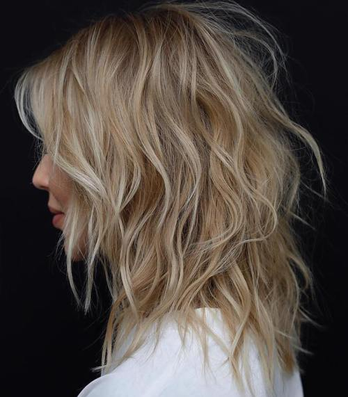 Caramel Blonde Shaggy Cut For Medium Hair