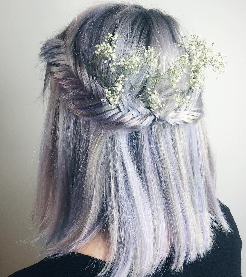 Pastel Purple Half Updo With Fishtails