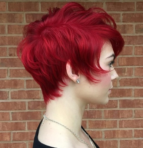 Short Cherry Red Hairstyle For Thin Hair