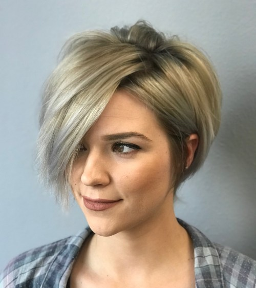 Short Razored Blonde Bob With Gray Highlights