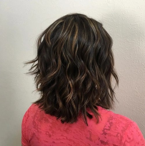 Shoulder Length Brown Shag with Highlights