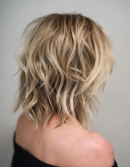 Shoulder-Length Medium Shaggy Haircut