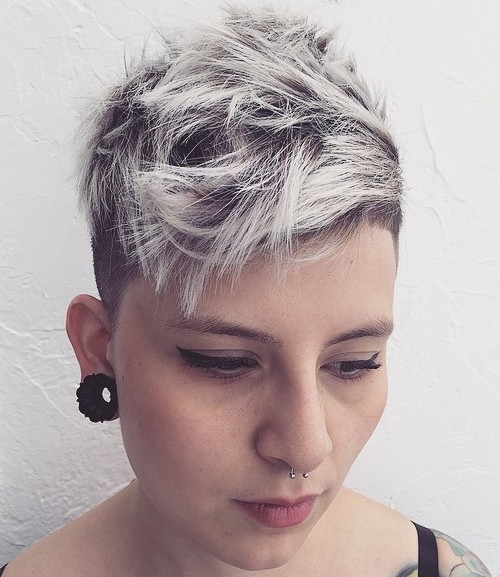Women Short Choppy Blonde Undercut