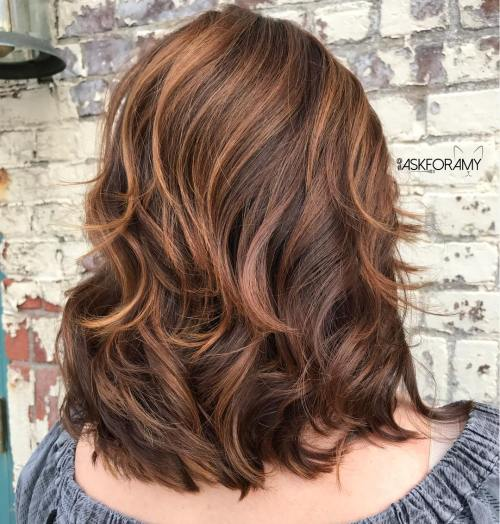 70 brightest medium length layered haircuts and hairstyles chocolate hairstyle with caramel highlights solutioingenieria Choice Image