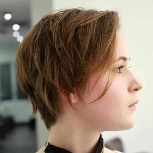 Short Side Parted Choppy Cut For Thin Hair