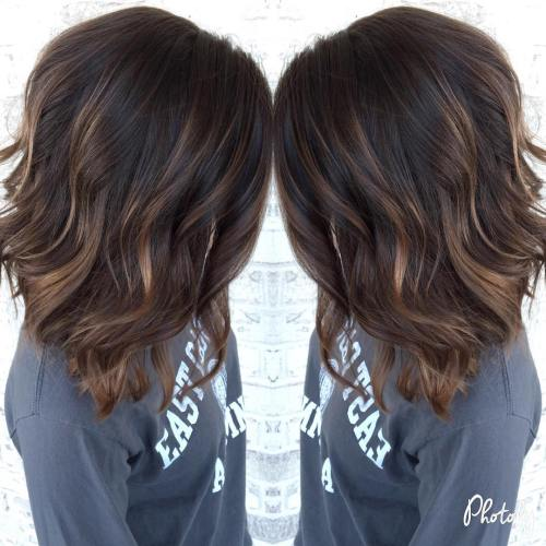Brown Lob With Subtle Highlights