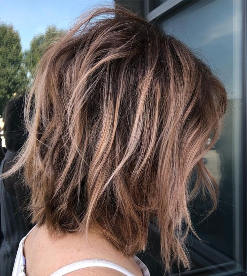 Long Shaggy Bob With Bronde Highlights