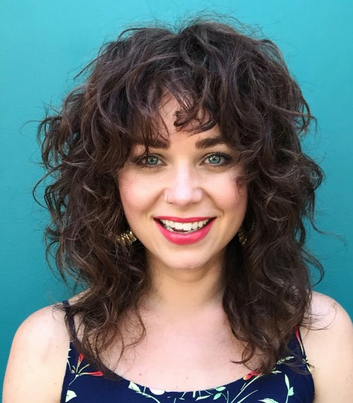 Medium Layered Curly Shaggy Cut With Bangs