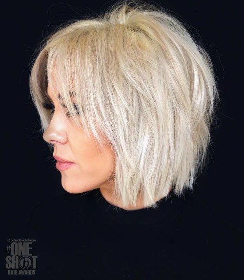 Shaggy Blonde Bob For Fine Hair