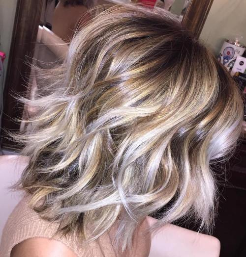 Shaggy Bob With Blonde Balayage