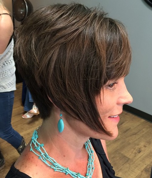 short layered bob with angled front pieces