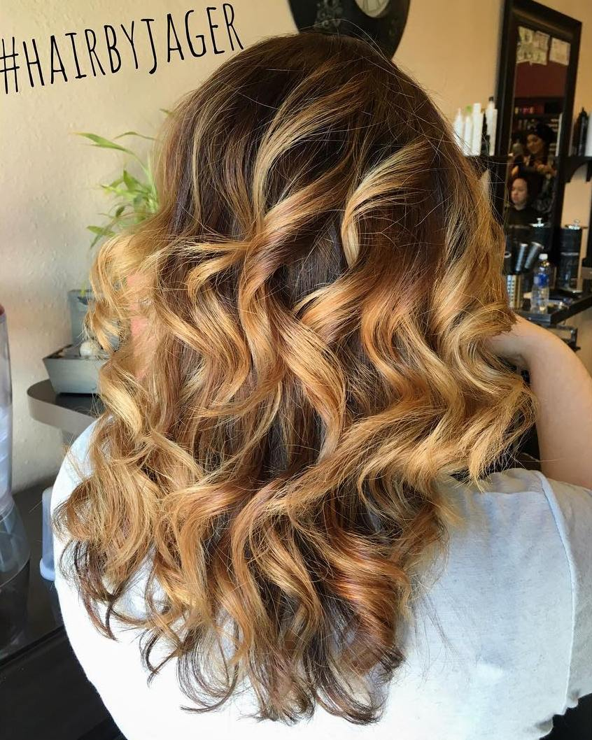 Black hair with blonde ends - Honey Blonde Balayage For Dark Brown Hair