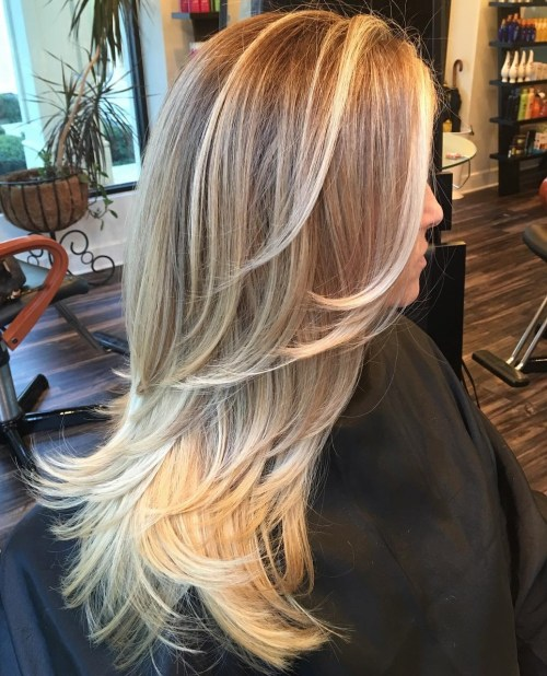 Long Layered Haircut With Blonde Balayage
