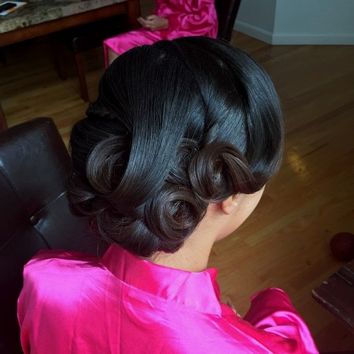 low curls wedding updo for black hair