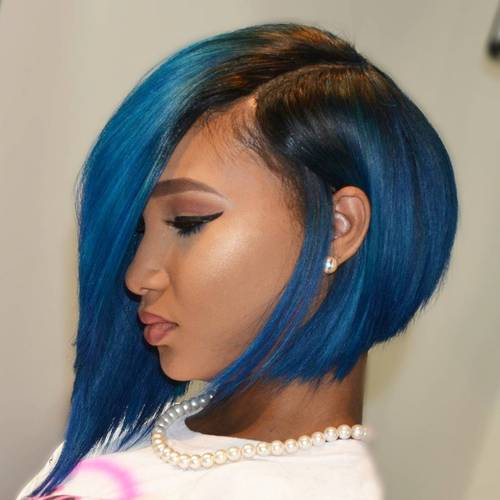 60 showiest bob haircuts for black women african american angled asymmetrical blue bob winobraniefo Images