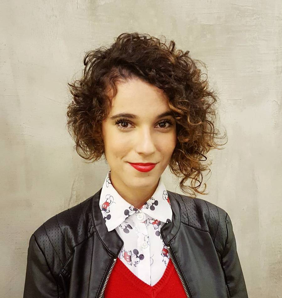 Short Asymmetrical Curly Hairstyle