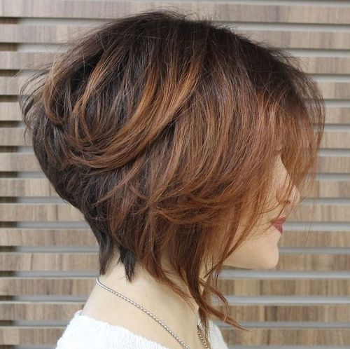 stacked brown bob with balayage
