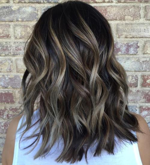 80 sensational medium length haircuts for thick hair in 2018 subtle balayage for brunettes winobraniefo Choice Image