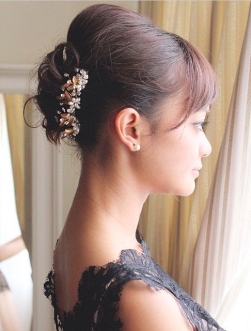 Updo With Bangs And Bouffant For Short Hair