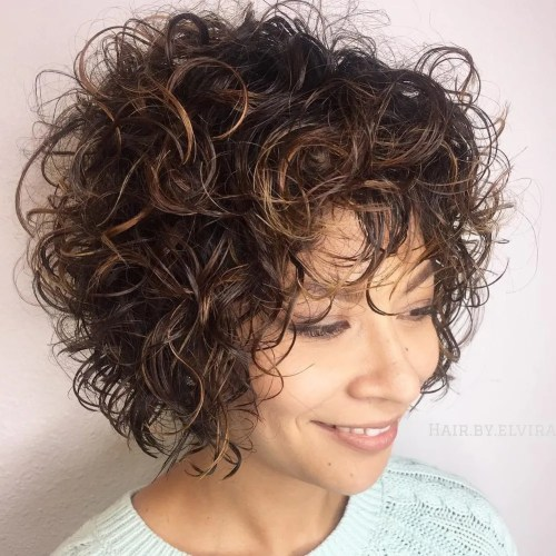 Short Curly Hairstyle With Subtle Highlights