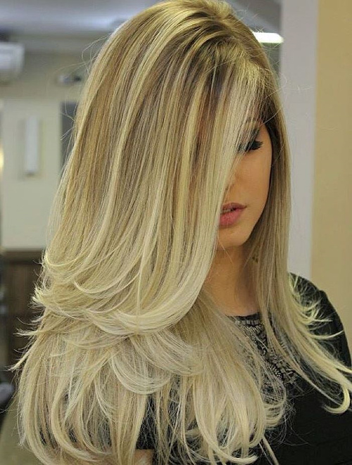 Long Blonde Ombre Blowout Hairstyle