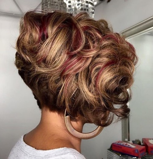 Short Curly Layered Bob For Black Women