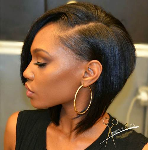 Side Parted Black Bob Hairstyle