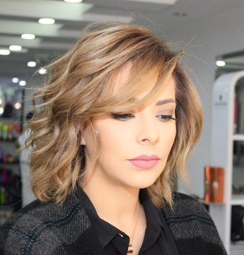 70 brightest medium length layered haircuts and hairstyles wispy wavy bob with side bangs urmus Gallery