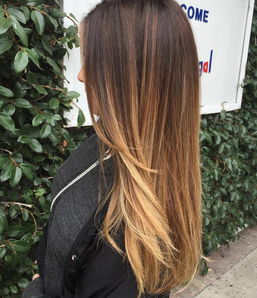 Brown To Caramel Long Ombre Hair