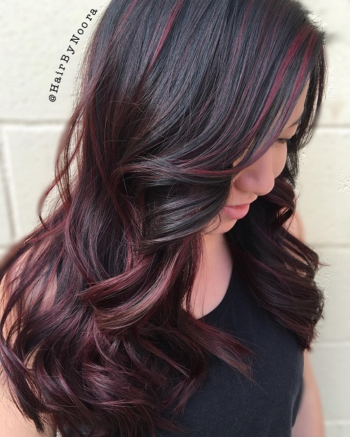 60 hairstyles featuring dark brown hair with highlights burgundy balayage for dark brown hair pmusecretfo Gallery