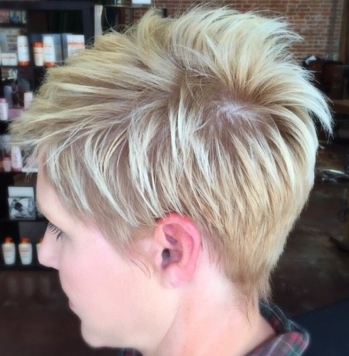Feathered Blonde Pixie