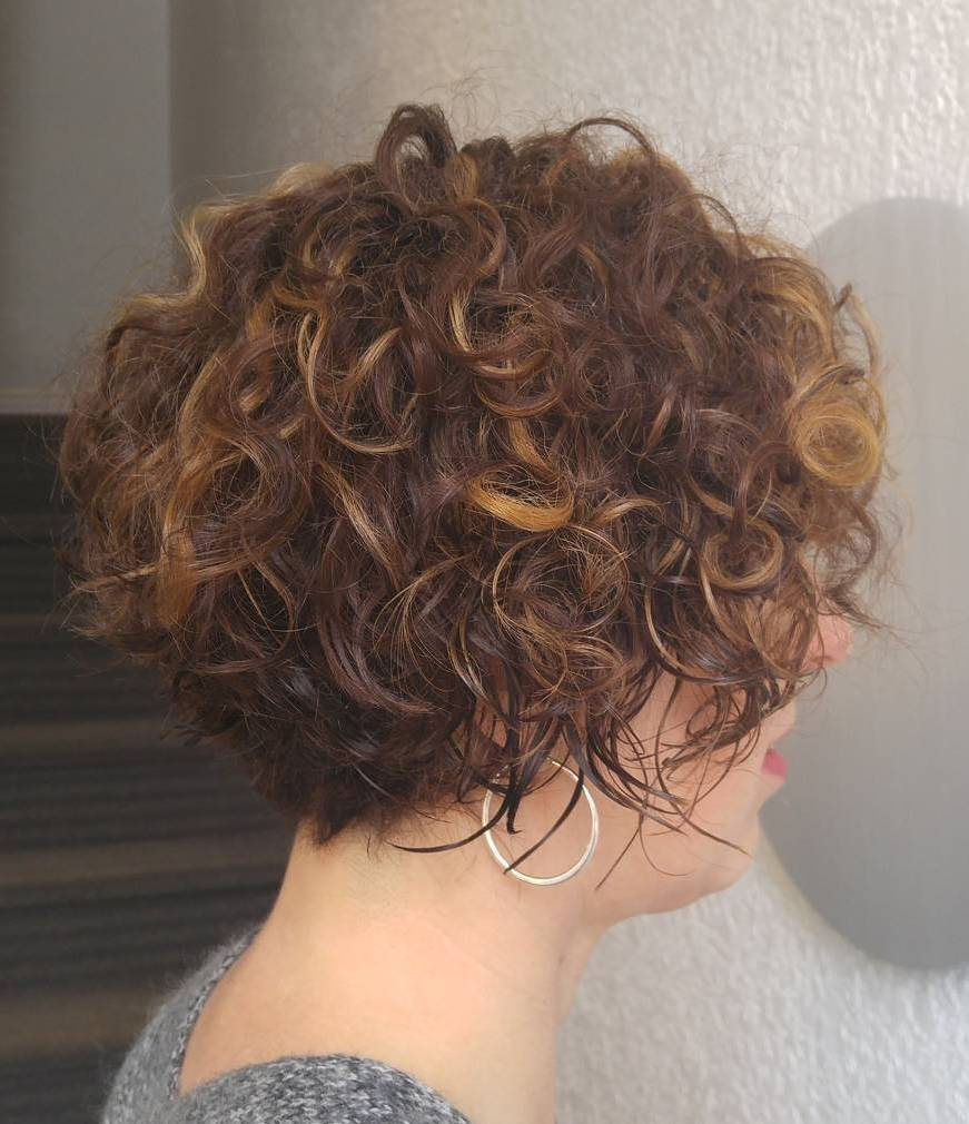 Short Curly Brunette Bob