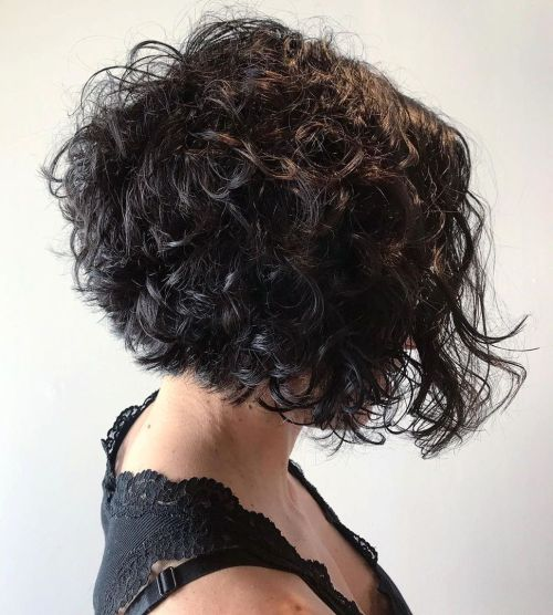 Short Curly Inverted Bob Haircut