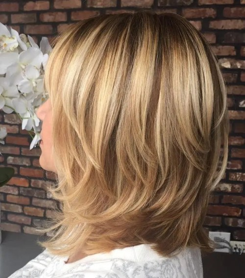 Shoulder-Length Layered Brown Blonde Hair