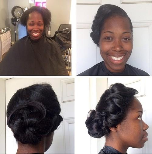 black wedding fancy bun updo