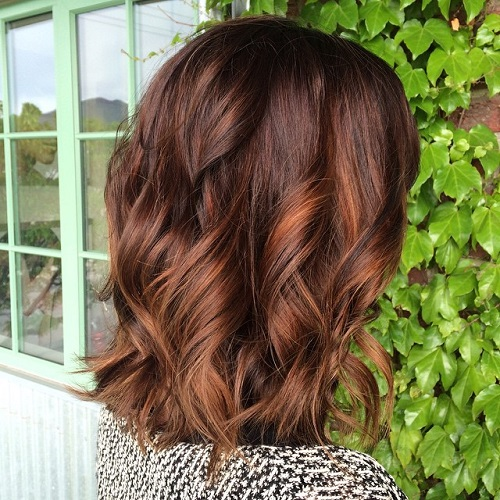 60 hairstyles featuring dark brown hair with highlights brown lob with copper highlights pmusecretfo Image collections