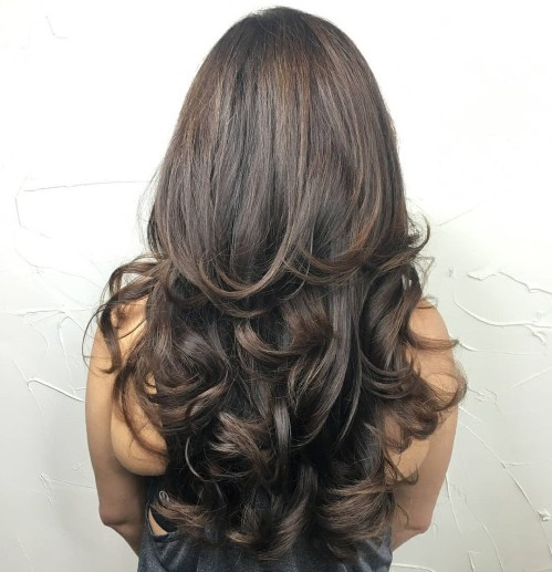 Brunette Layered Curly Hairstyle Long Hair