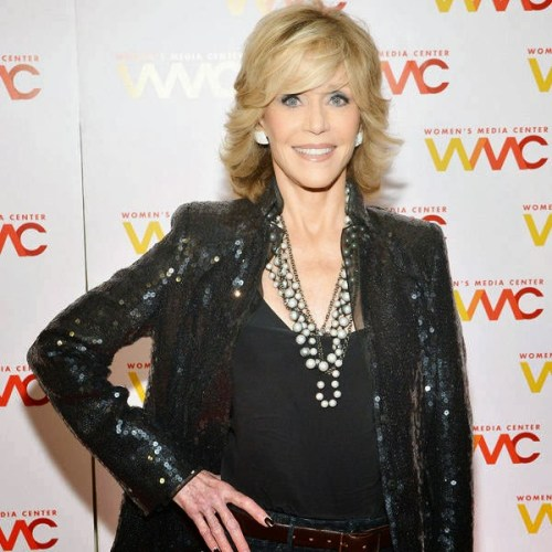 Jane Fonda medium hairstyle with bangs
