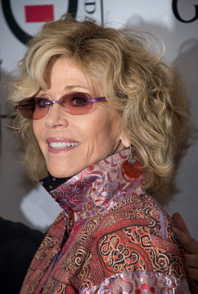 Jane Fonda voluminous curly hairstyle