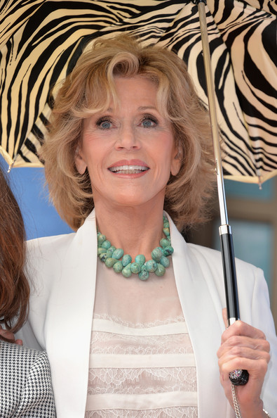 Jane fonda medium hairstyle with highlights