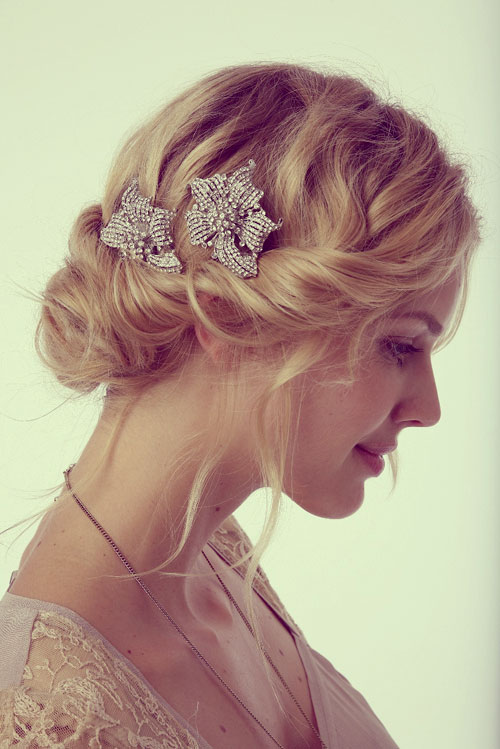 wedding updo for short wavy hair