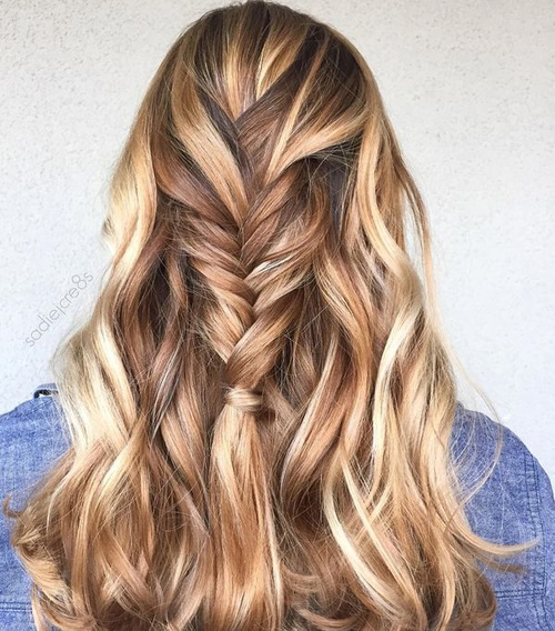 Caramel And Blonde Highlights