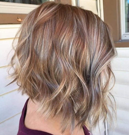Caramel Bob With Ash Blonde Highlights