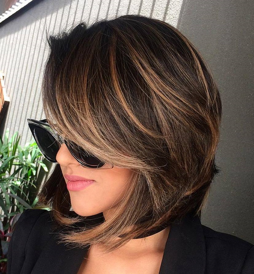 Layered Brunette Balayage Bob