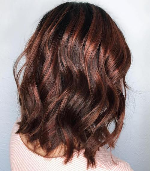 Wavy Chocolate Brown Lob