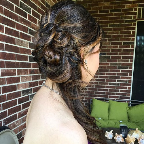 curly side updo for ombre hair